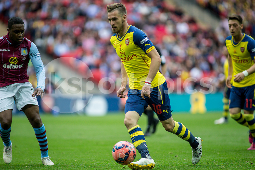 Aaron Ramsey of Arsenal during the FA Cup Final match between Arsenal and Aston Villa at Wembley Stadium, London, England on 30 May 2015. Photo by Liam McAvoy.