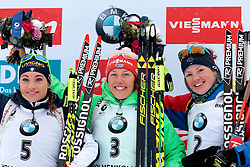 06.03.2016, Holmenkollen, Oslo, NOR, IBU Weltmeisterschaft Biathlion, Oslo, Verfolgung, Damen, im Bild wierer dorothea (ita), dahlmeier (laura (ger), dorin habert marie (fra) // during Womens pursuit Race of the IBU World Championships, Oslo 2016 at the Holmenkollen in Oslo, Norway on 2016/03/06. EXPA Pictures © 2016, PhotoCredit: EXPA/ Pressesports/ MONS FREDERIC<br /> <br /> *****ATTENTION - for AUT, SLO, CRO, SRB, BIH, MAZ, POL only*****