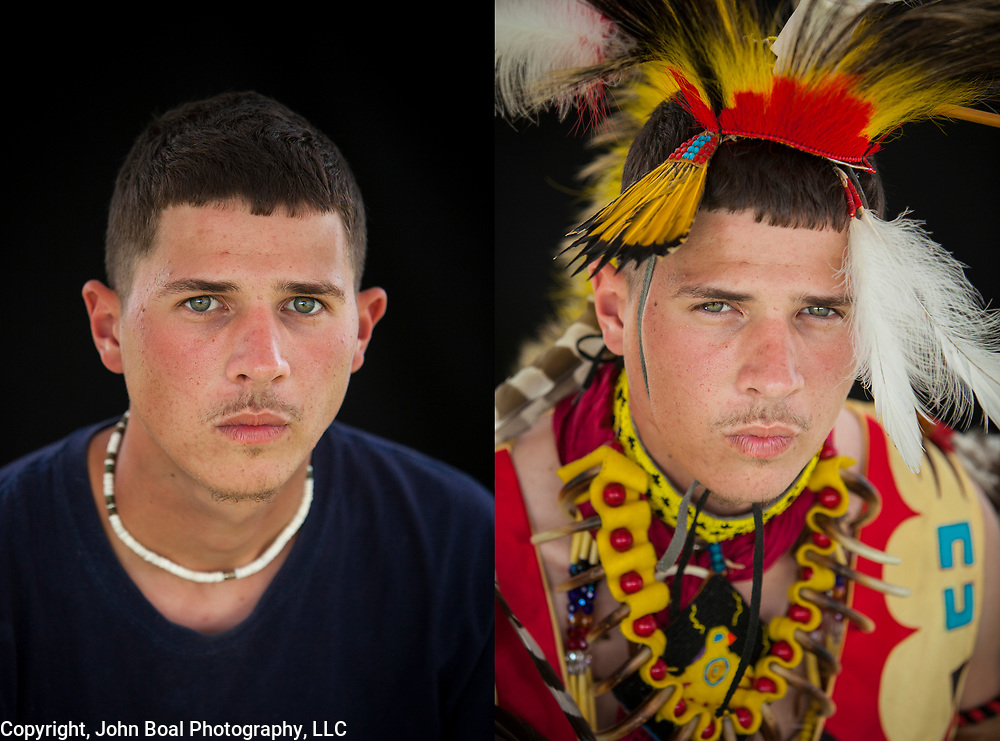 Diptych of Quinton Talbott, Monacan.  Archeological evidence points to Monacans living in Virginia 10,000 years ago.  Over 400 years after making contact with the Europeans, they defy classic Native American stereotypes.