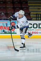 KELOWNA, CANADA - OCTOBER 26: Kaid Oliver #23 of the Victoria Royals warms up with a shot on net against the Kelowna Rockets on October 26, 2016 at Prospera Place in Kelowna, British Columbia, Canada.  (Photo by Marissa Baecker/Shoot the Breeze)  *** Local Caption ***