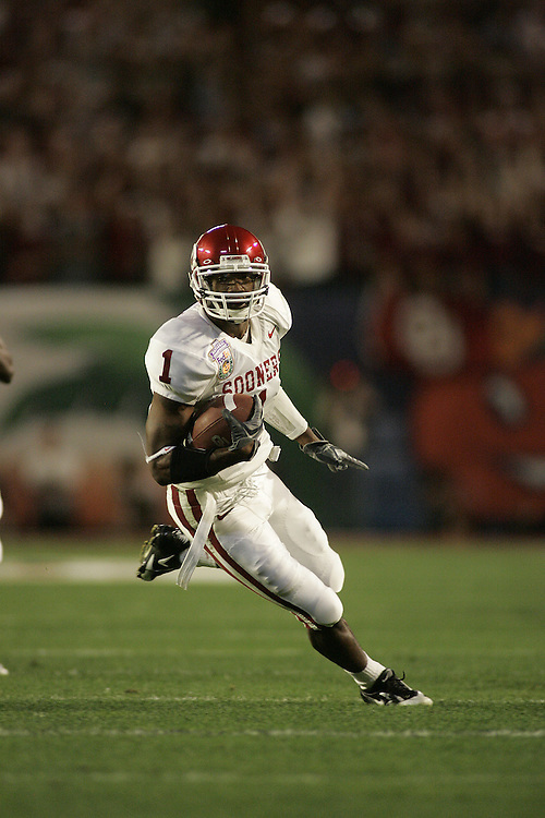 University of Oklahoma wide receiver Mark Bradley runs upfield after making a catch during USC's 55-19 victory over OU on January 4, 2005 in the FedEx Orange Bowl at Pro Player Stadium in Miami, Florida.