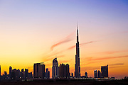 The Burj Khalifa and the Address Hotel in the Dubai skyline on the evening of December 3, 2010. Archive of images of Dubai by Dubai photographer Siddharth Siva