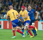 London, Great Britain,  Red Cap, Johann VAN HEERDEN, passes the ball to Mihaita LAZER, during the Pool D, game, France vs Romania. 2015 Rugby World Cup. Venue. The Stadium Queen Elizabeth Olympic Park. Stratford. East London. England,, Wednesday  23/09/2015. <br /> [Mandatory Credit; Peter Spurrier/Intersport-images]