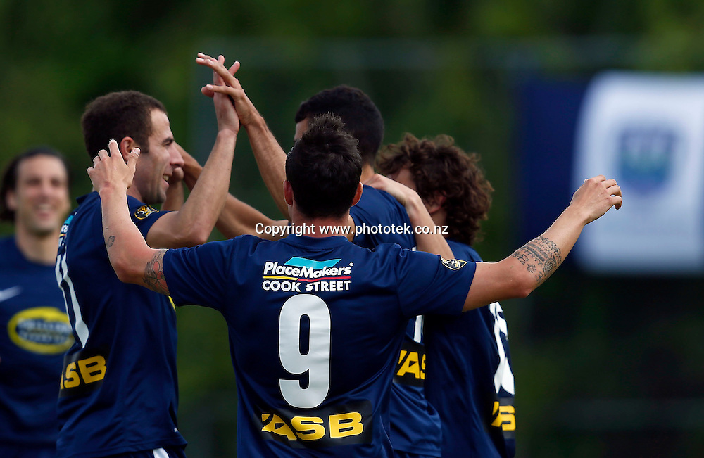 Auckland celebrate scoring the equaliser. ASB Premiership, Round Three, Auckland City FC v Hawkes Bay United, Kiwitea Street Auckland, Sunday 18th November 2012. Photo: Shane Wenzlick
