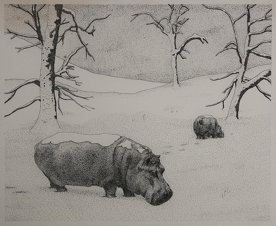 HIPPOPOTAMI, WINTER, ink drawing 1980