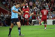 Quade Cooper celbrates his try with a cart wheel. Queensland Reds v NSW Waratahs. Investec Super Rugby Round 10 Match, 24 April 2011. Suncorp Stadium, Brisbane, Australia. Reds won 19-15. Photo: Clay Cross / photosport.co.nz