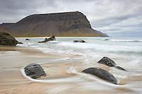 Seascape from Hvesta in Arnarfjörður, Mount Hringdalsnúpur in background. West fiords of Iceland.