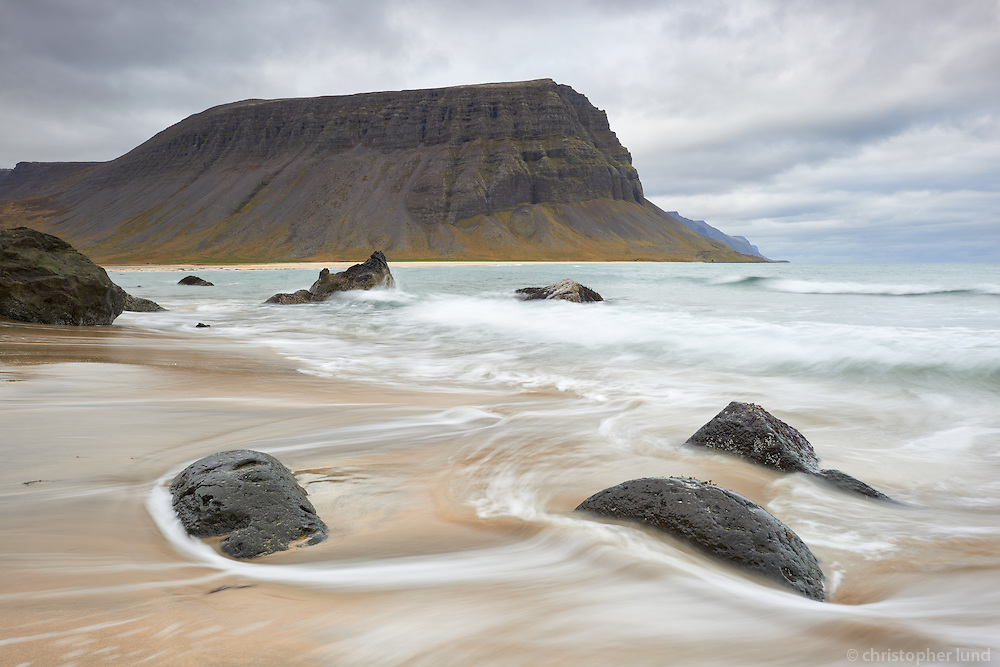 Seascape from Hvesta in Arnarfjörður, Mount Hringdalsnúpur in background. West fiords of Iceland.