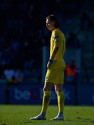 GENK, BELGIUM - Wednesday, October 23, 2019: KRC Genk's goalkeeper Maarten Vandevoordt during the UEFA Youth League Group E match between KRC Genk Under-19's and Liverpool FC Under-19's at the KRC Genk Arena Stadium B. (Pic by David Rawcliffe/Propaganda)