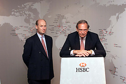 HSBC Results. L to R Douglas Flint Finance Director, Keith Whitson CEO, July 31, 2000. Photo by Andrew Parsons.