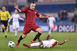 December 5, 2017 - Rome, Italy - Radja Nainggolan of Roma is challenged by Donald Guerrier of Qarabag during the UEFA Champions League match between Roma and Qarabag at Stadio Olimpico, Rome, Italy on 5 December 2017  (Credit Image: © Giuseppe Maffia/NurPhoto via ZUMA Press)