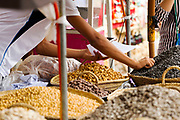 Assorted roasted nuts street food stand, Asilah, Northern Morocco, 2015-08-10.