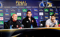 Bernard LAPORTE / Carl HAYMAN / Sebastien TILLOUS BORDE - 01.05.2015 - Conference de presse Toulon avant la finale - European Rugby Champions Cup -Twickenham -Londres<br /> Photo : David Winter / Icon Sport