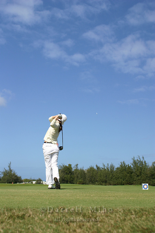February 16, 2006 - Kahuku, HI - Young Kim tees off during Round 1 of the LPGA SBS Open at Turtle Bay Resort...Photo: Darrell Miho