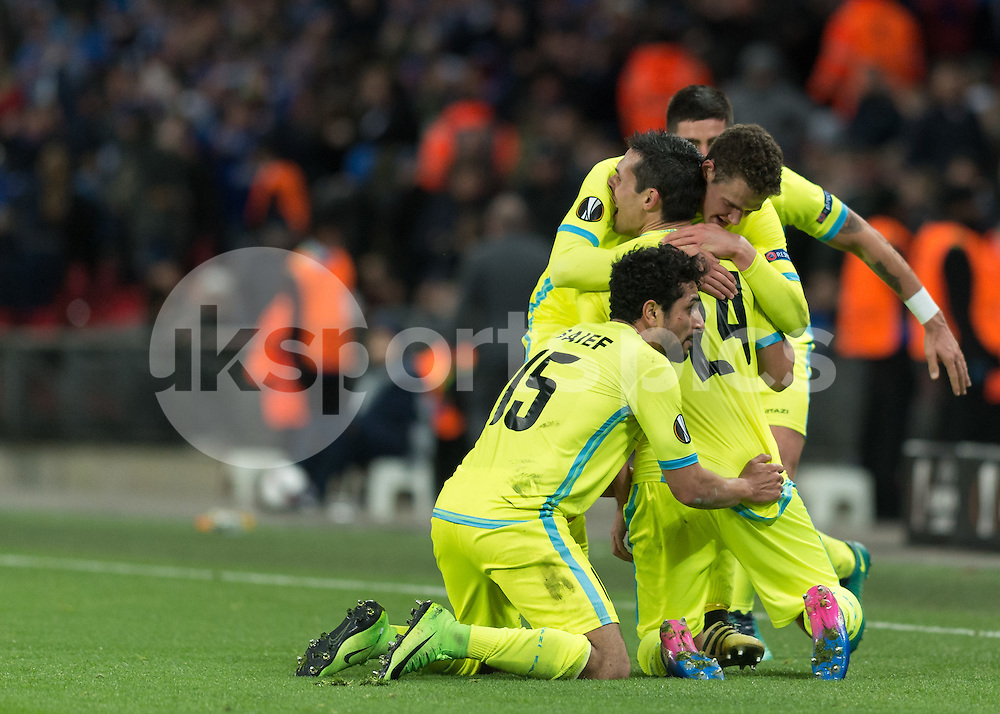 Jérémy Perbet of KAA Gent celebrates scoring during the UEFA Europa League  Round of 32 Game 2 match between Tottenham Hotspur and Gent at Wembley Stadium, London, England on 23 February 2017. Photo by Vince  Mignott.