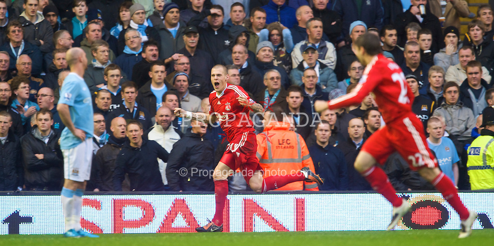 LIVERPOOL, ENGLAND - Saturday, November 21, 2009: Liverpool's Martin Skrtel celebrates scoring his first Liverpool goal, to open the scoring during the Premiership match against Manchester City at Anfield. (Photo by David Rawcliffe/Propaganda)