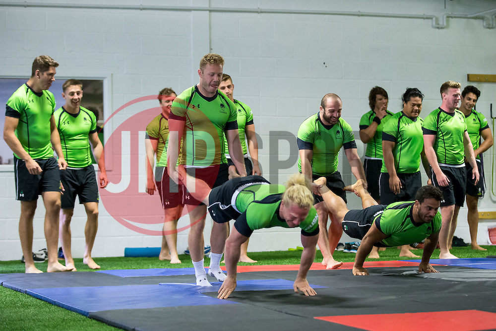 Luke Baldwin and Tom Biggs in action during a wrestling session ahead of Worcester Warriors' 2016/17 Aviva Premiership Campaign - Mandatory byline: Rogan Thomson/JMP - 26/07/2016 - RUGBY UNION - Sixways Stadium - Worcester, England - Pre-Season Training.