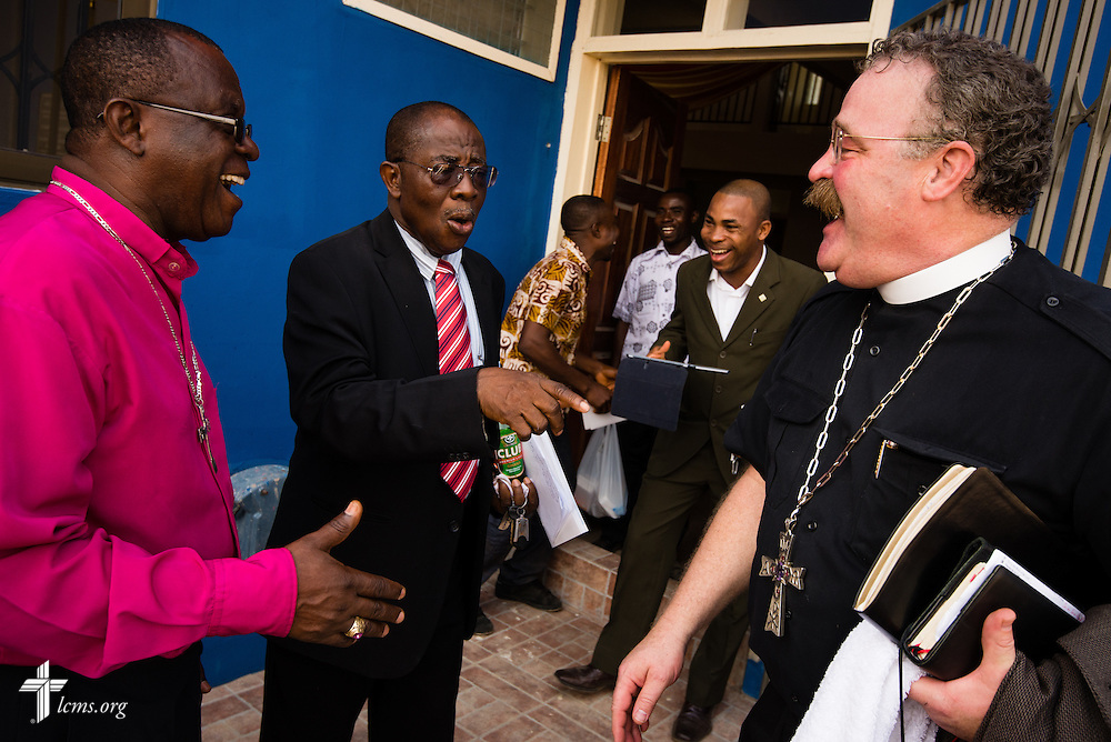 LCMS President Rev. Dr . Matthew C. Harrison jokes before leaving the Lutheran Theological Seminary of the Evangelical Lutheran Church of Ghana on Sunday, Feb. 2, 2014, in Greater Accra, Ghana. LCMS Communications/Erik M. Lunsford