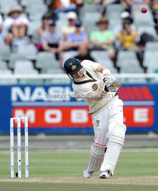 Michael Clark (captain) of Australia hits out towards the end of his innings of 151. South Africa v Australia, first test, day 2, Newlands, South Africa. 10 November 2011<br /> <br /> <br /> &copy;Ryan Wilkisky/BackpagePix