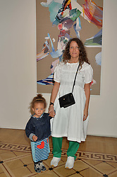 """LULU KENNEDY and her daughter RAINBOW at a private view of work by Matthew Stone """"Healing The Wounds' held at Somerset House, The Strand, London on 4th July 2016."""