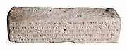 A fired clay brick with Cuneiform inscription 37x12x8