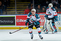 KELOWNA, CANADA - JANUARY 30: Matt Barberis #22 of the Kelowna Rockets skates against the Seattle Thunderbirds on January 30, 2019 at Prospera Place in Kelowna, British Columbia, Canada.  (Photo by Marissa Baecker/Shoot the Breeze)