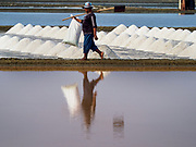 28 MARCH 2018 - BAN LAEM, PHETCHABURI, THAILAND:  during the 2018 salt harvest in Petchaburi province, about two hours south of Bangkok.          PHOTO BY JACK KURTZ