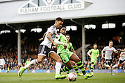 Fulham defender Ryan Fredericks (2) gets a cross in to the box during the EFL Sky Bet Championship match between Fulham and Wolverhampton Wanderers at Craven Cottage, London, England on 18 March 2017. Photo by Andy Walter.