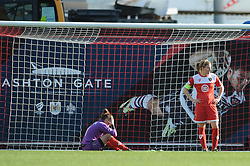 Bristol Academy captain Grace McCatty and Bristol Academy's Mary Earps cut dejected figures as they lose 0-5  - Photo mandatory by-line: Dougie Allward/JMP - Mobile: 07966 386802 - 21/03/2015 - SPORT - Football - Bristol - Ashton Gate Stadium - Bristol Academy v FFC Frankfurt - UEFA Women's Champions League - Quarter Final - First Leg