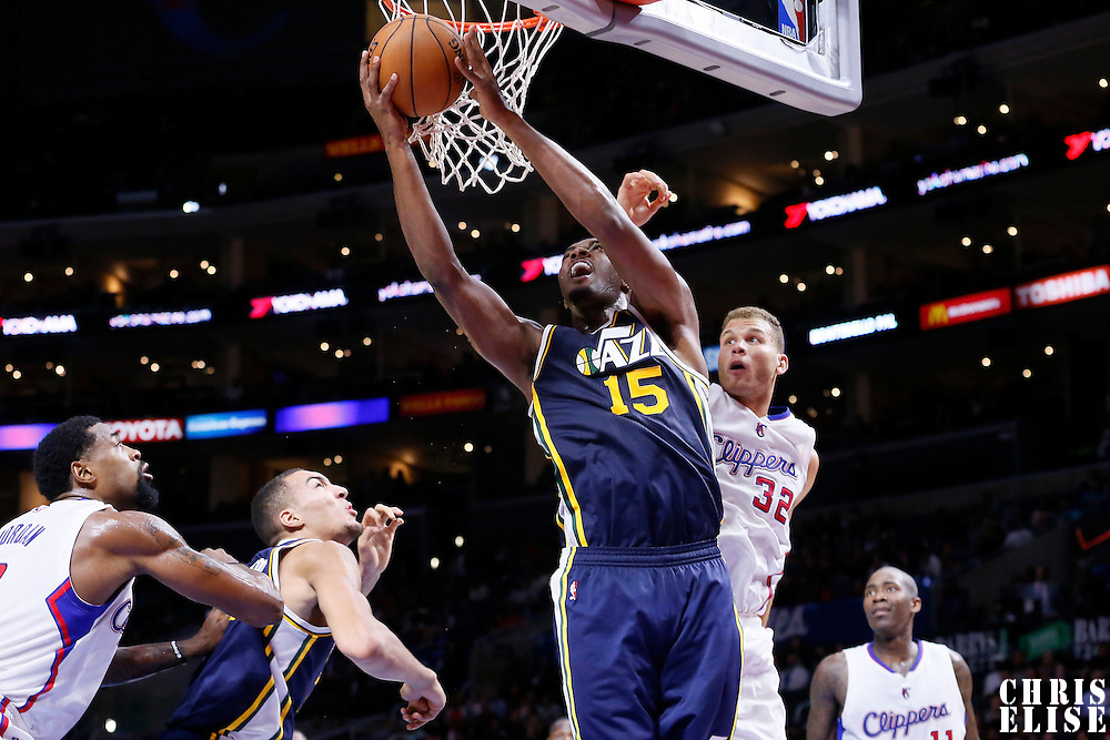 17 October 2014: Utah Jazz center Derrick Favors (15) goes for the reverse layup during the Los Angeles Clippers 101-97 victory over the Utah Jazz, in a preseason game, at the Staples Center, Los Angeles, California, USA.