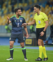 KIEV, UKRAINE - Easter Monday, March 28, 2016: Wales' Neil Taylor complains to the referee against Ukraine during the International Friendly match at the NSK Olimpiyskyi Stadium. (Pic by David Rawcliffe/Propaganda)