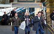 Sadiq Khan <br /> Mayor of London <br /> campaigns on rail fares and bringing commuter services under TfL control at Waterloo Station , London, Great Britain <br /> 3rd January 2017 <br /> <br /> <br /> Sadiq Khan <br /> Mayor of London <br /> <br /> <br /> Photograph by Elliott Franks <br /> Image licensed to Elliott Franks Photography Services