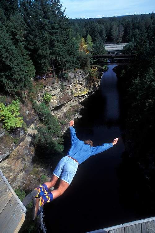 Canada, British Columbia, Bungee Jumper leaps 140' from bridge above the Nanaimo River on Vancouver Island