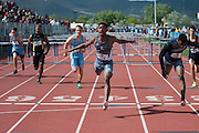 Liberty's David Washington wins D1 Boys 110 Hurdles hurdles during the NIAA State Track &amp; Field Championships at Carson City High School in Carson City, Nev. on Friday, May 20, 2016.<br /> Kevin Clifford/Las Vegas Review-Journal
