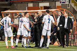 coach Jochem Twisker of ASV De Dijk give instructions to Maarten Woudenberg od ASV De Dijk during the Second Round Dutch Cup match between De Dijk and Ajax Amsterdam at Kras stadium on October 25, 2017 in Volendam, The Netherlands