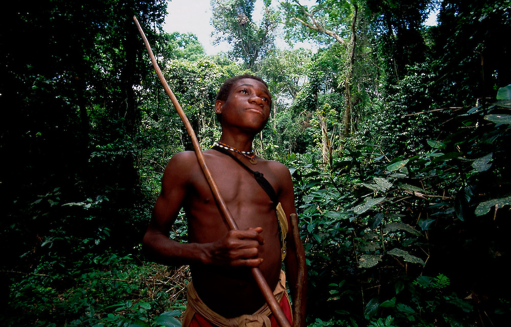 Baka ( pygme tribe) man in rainforest. Cameroon. Accession #: 0.99.241.003.08