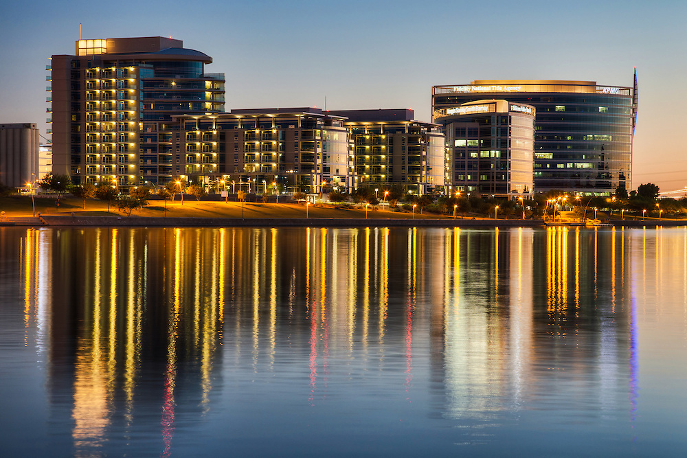 Reflections off of buildings in downtown Tempe on Tempe Town Lake, Arizona