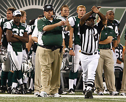 Aug 14, 2009; East Rutherford, NJ, USA;   New York Jets Head Coach Rex Ryan calls timeout during the second half at Giants Stadium. The Rams defeated the Jets 23-20.