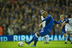 BIRMINGHAM, ENGLAND - Thursday, November 3, 2011: Birmingham City's substitute Marlon King scores the second goal against Club Brugge from the penalty spot during the UEFA Europa League Group H match at St. Andrews. (Pic by David Rawcliffe/Propaganda)