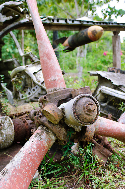 Propeller of a wrecked plane from WWII, Biak, West Papua, Indonesia. In World War II, a strategic airfield of the Imperial Japanese Army was located on Biak, serving as a base for operations in the Pacific theatre. American forces eventually captured the island during the Battle of Biak in 1944.