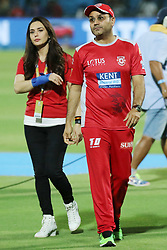 May 8, 2018 - Jaipur, Rajasthan, India - Kings XI Punjab team co owner Preity Zinta and tea, DCO Virendra Shewag during the IPL T20 match against Rajasthan Royals at Sawai Mansingh Stadium in Jaipur,Rajasthan,India on 8th May,2018.(Photo By Vishal Bhatnagar/NurPhoto) (Credit Image: © Vishal Bhatnagar/NurPhoto via ZUMA Press)