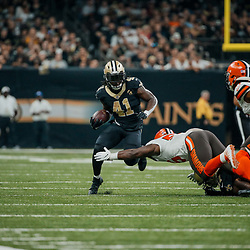 Sep 16, 2018; New Orleans, LA, USA; New Orleans Saints running back Alvin Kamara (41) is pursued by Cleveland Browns linebacker Genard Avery (55) during the first quarter of a game at the Mercedes-Benz Superdome. Mandatory Credit: Derick E. Hingle-USA TODAY Sports