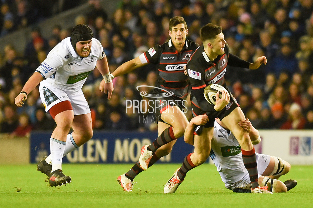 Blair Kinghorn under pressure during the Guinness Pro 14 2017_18 match between Edinburgh Rugby and Glasgow Warriors at Murrayfield, Edinburgh, Scotland on 23 December 2017. Photo by Kevin Murray.