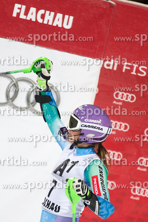 13.01.2015, Hermann Maier Weltcupstrecke, Flachau, AUT, FIS Weltcup Ski Alpin, Flachau, Slalom, Damen, 2. Lauf, im Bild Tina Maze (SLO, 2. Platz) // second placed Tina Maze of Slovenia reacts after her 2nd run of the ladie's Slalom of the FIS Ski Alpine World Cup at the Hermann Maier Weltcupstrecke in Flachau, Austria on 2015/01/13. EXPA Pictures © 2015, PhotoCredit: EXPA/ JOHANN GRODER