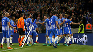 Pascal Gross of Brighton (Centre)  celebrates scoring during the Premier League match between Brighton and Hove Albion and Manchester United at the American Express Community Stadium in Brighton and Hove. 04 May 2018