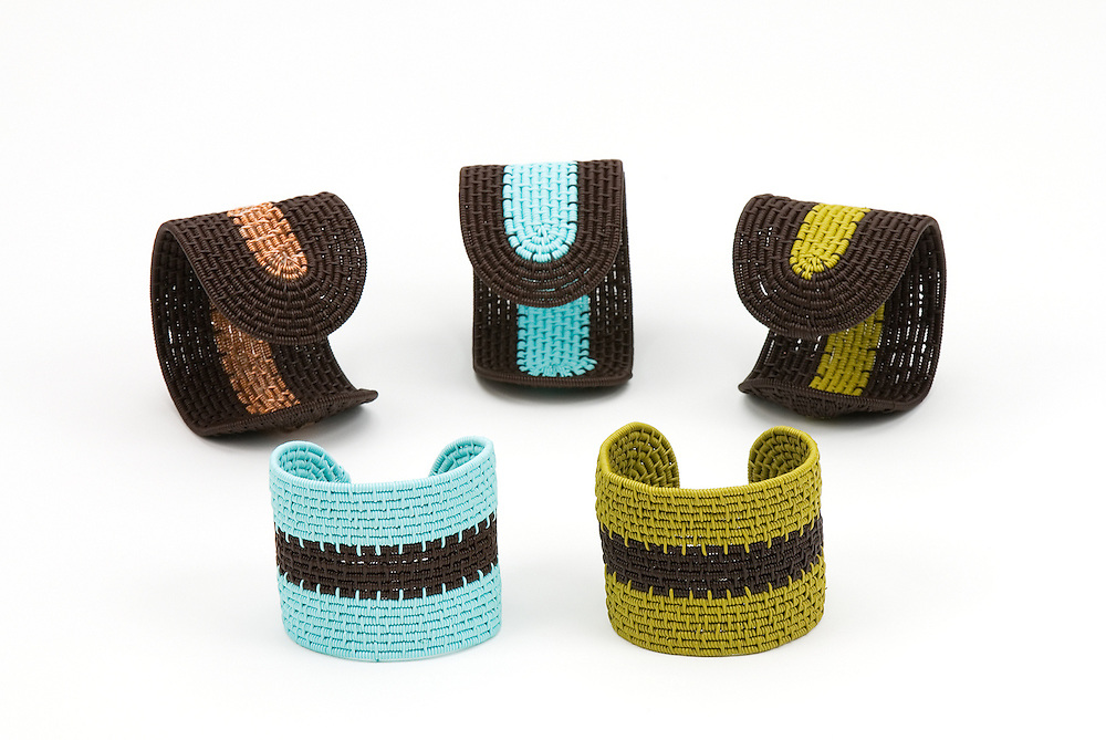Group; Cuff bracelets in stripe design