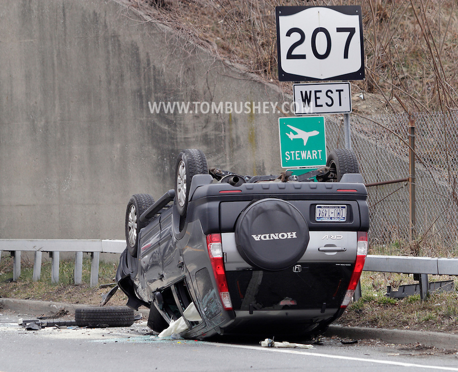 New Windsor, New York  - A sports utility vehicle overturned on Route 207 on Feb. 18, 2012.