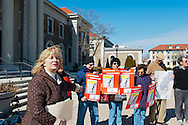 """We the People Save our Waters Coalition"" holds rally to stop the long-term lease of our Sewage Treatment Plants.  Pictured is Claudia Borecky, (far left) founder of the Nassau Coalition of Civic Associations, concerned residents. At Nassau County Legislative Building, Mineola, New York, USA, on February 27, 2012."