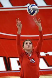 17 October 2015:  Ashley Rosch(15) sets the ball during an NCAA women's volleyball match between the Southern Illinois Salukis and the Illinois State Redbirds at Redbird Arena in Normal IL (Photo by Alan Look)