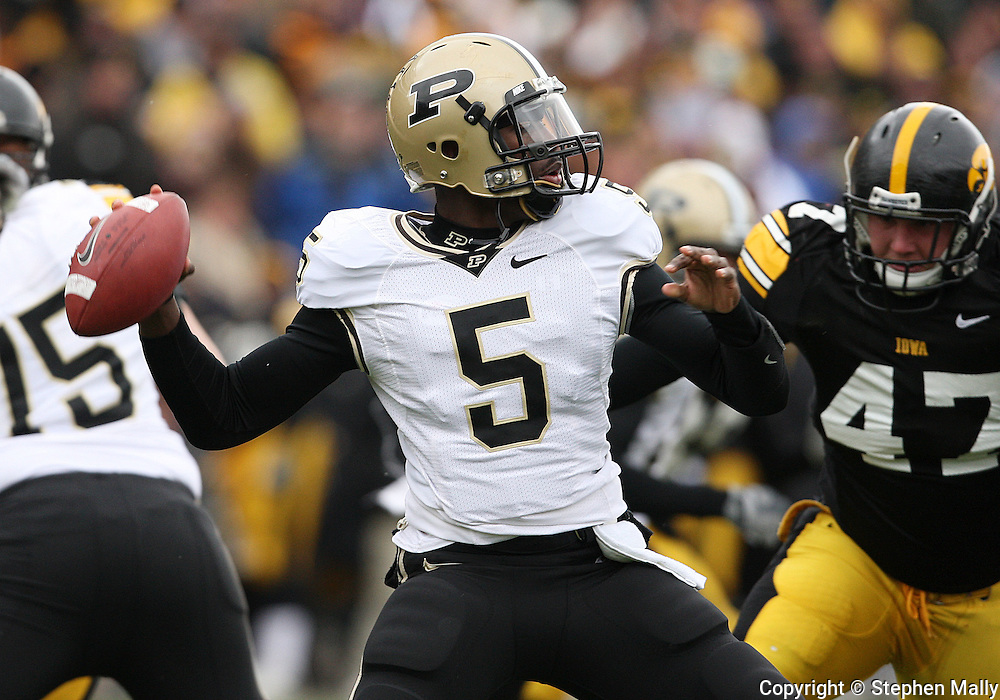 15 NOVEMBER 2008: Purdue quarterback Justin Siller (5) in the first half of an NCAA college football game against Purdue, at Kinnick Stadium in Iowa City, Iowa on Saturday Nov. 15, 2008. Iowa beat Purdue 22-17.